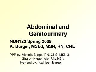 Abdominal and Genitourinary