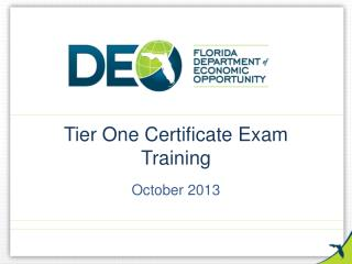 Tier One Certificate Exam Training
