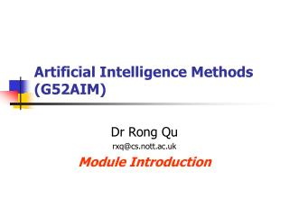 Artificial Intelligence Methods (G52AIM)