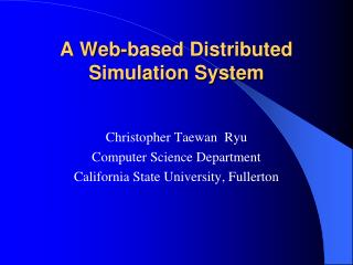 A Web-based Distributed Simulation System