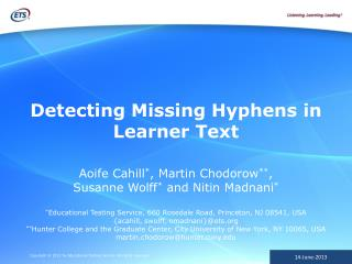 Detecting Missing Hyphens in Learner Text