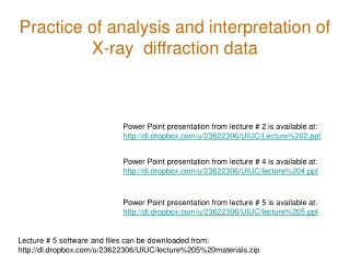 Practice of analysis and interpretation of X-ray diffraction data