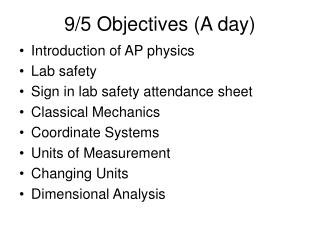 9/5 Objectives (A day)