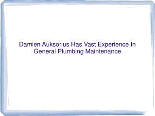 Damien Auksorius Has Vast Experience In General Plumbing Mai