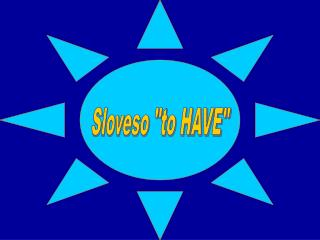 "Sloveso ""to HAVE"""