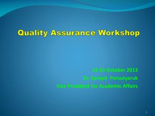 Quality Assurance Workshop