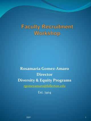 Faculty Recruitment Workshop