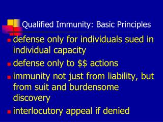 Qualified Immunity: Basic Principles
