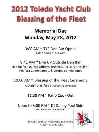 2012 Toledo Yacht Club Blessing of the Fleet