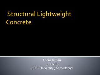 Structural Lightweight Concrete