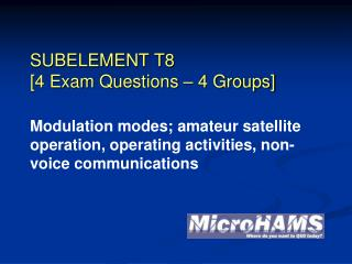 SUBELEMENT T8 [4 Exam Questions – 4 Groups]