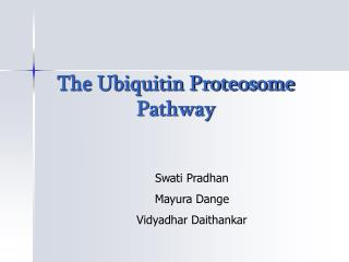 The Ubiquitin Proteosome Pathway