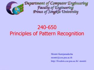 240-650 Principles of Pattern Recognition
