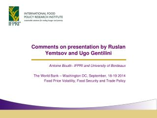 Comments  on presentation  by  Ruslan Yemtsov  and Ugo  Gentilini