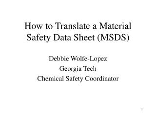 How to Translate a Material Safety Data Sheet (MSDS)