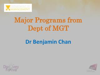 Major Programs from  Dept  of MGT