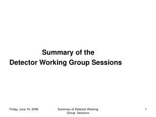 Summary of the  Detector Working Group Sessions