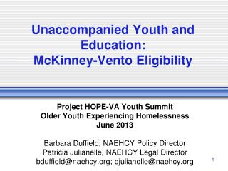 Unaccompanied Youth and Education: McKinney-Vento Eligibility