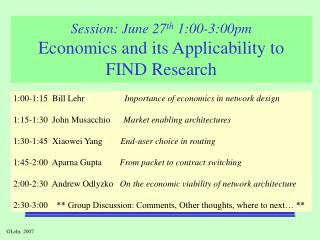 Session: June 27 th  1:00-3:00pm Economics and its Applicability to  FIND Research