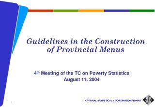 Guidelines in the Construction of Provincial Menus