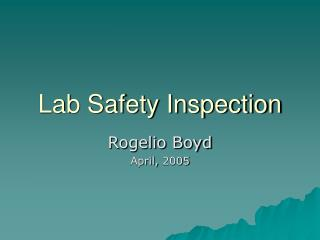 Lab Safety Inspection