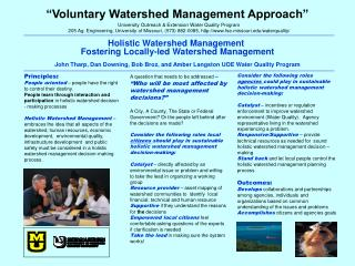 """""""Voluntary Watershed Management Approach"""""""