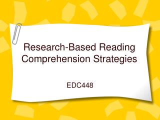 Research-Based Reading Comprehension Strategies