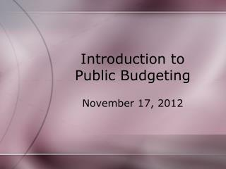 Introduction to Public Budgeting