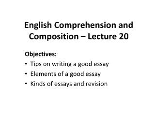 English Comprehension and Composition – Lecture 20