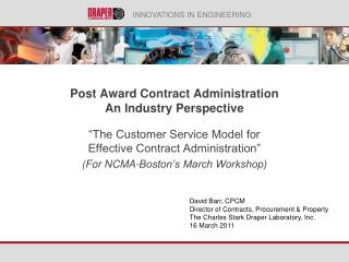 Post  Award Contract Administration  An Industry  Perspective