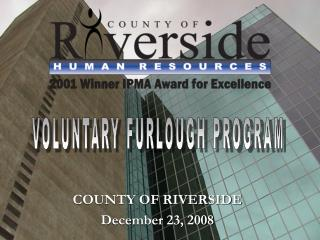 COUNTY OF RIVERSIDE December 23, 2008