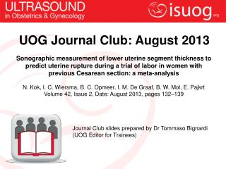 UOG Journal Club: August 2013