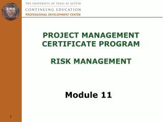 Project Management  Certificate Program  Risk Management