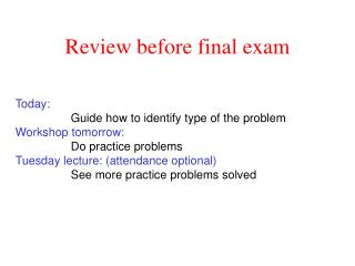 Review before final exam
