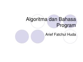 Algoritma dan Bahasa Program
