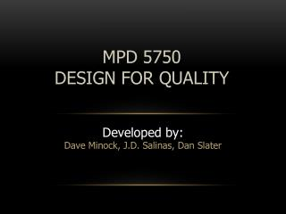 MPD  5750 DESIGN FOR QUALITY
