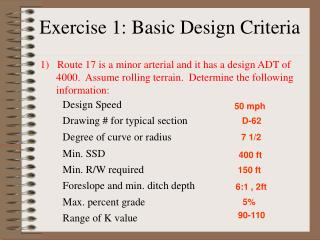 Exercise 1: Basic Design Criteria