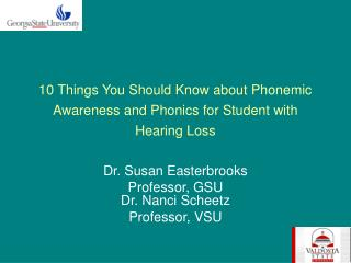 10 Things You Should Know about Phonemic Awareness and Phonics for Student with Hearing Loss