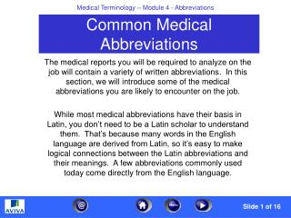 Common Medical Abbreviations