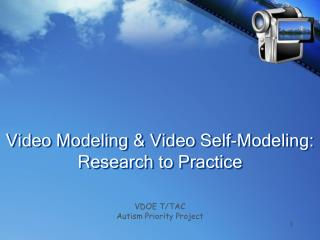 Video Modeling & Video Self-Modeling: Research to Practice