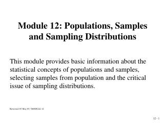 Module 12: Populations, Samples and Sampling Distributions