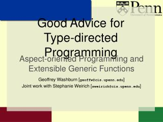 Good Advice for  Type-directed Programming