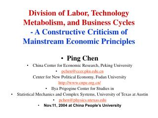Ping Chen China Center for Economic Research, Peking University pchen@ccer.pku
