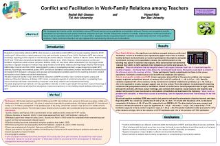Conflict and Facilitation in Work-Family Relations among Teachers