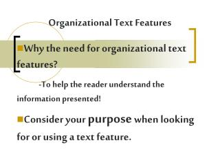 Organizational Text Features