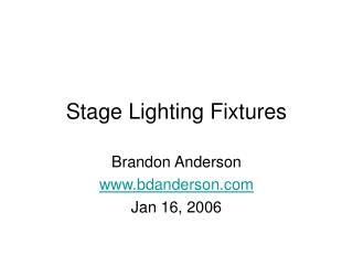 Stage Lighting Fixtures