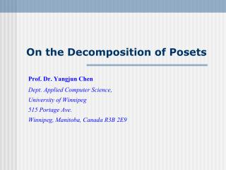 On the Decomposition of Posets