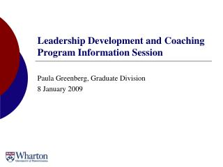 Leadership Development and Coaching Program Information Session