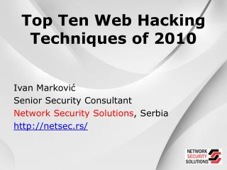 Top Ten Web Hacking Techniques of 2010