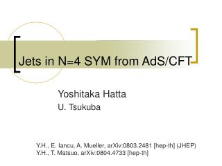 Jets in N=4 SYM from AdS/CFT